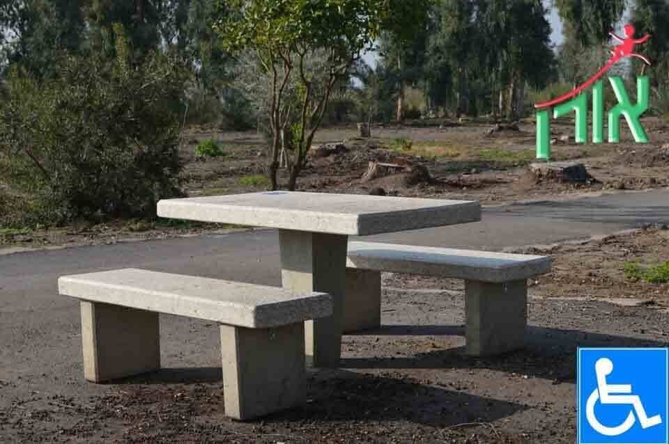 Concrete Street Furniture - Accessible Concrete table and benches - 3506