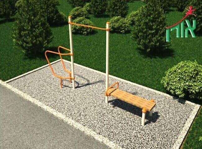 Outdoor Fitness Equipment Pull-Up Bar and Dip Station and Sit-Up Bench - 2066