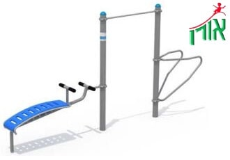 Outdoor Gym Equipment - Pull-Up Bar, Dip Station and Sit-Up Bench - 2066L